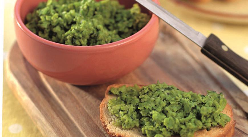 Рецепт Пюре из зеленого горошка с мятой и базиликом