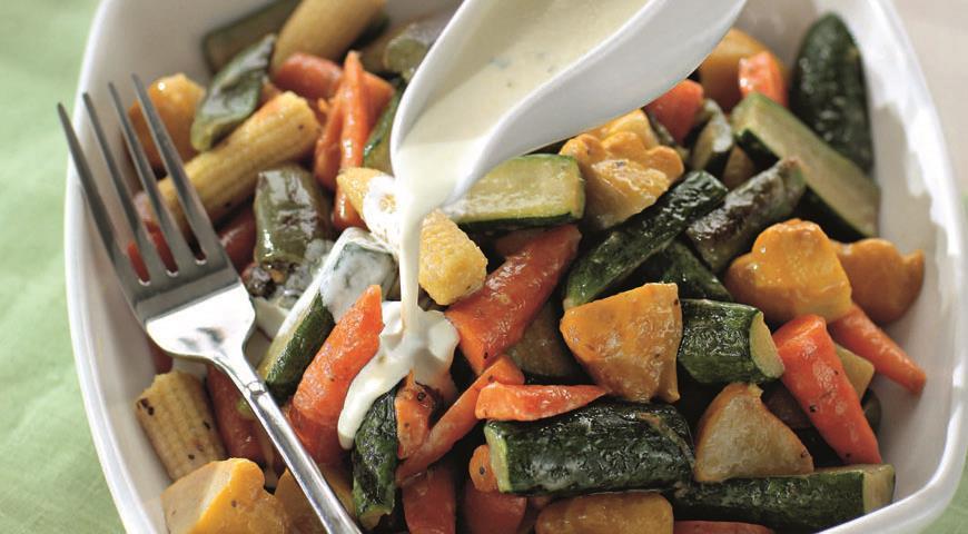 Рецепт Глазированные молодые овощи со сливочным соусом