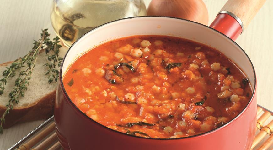 Рецепт Томатный суп с мелкой пастой