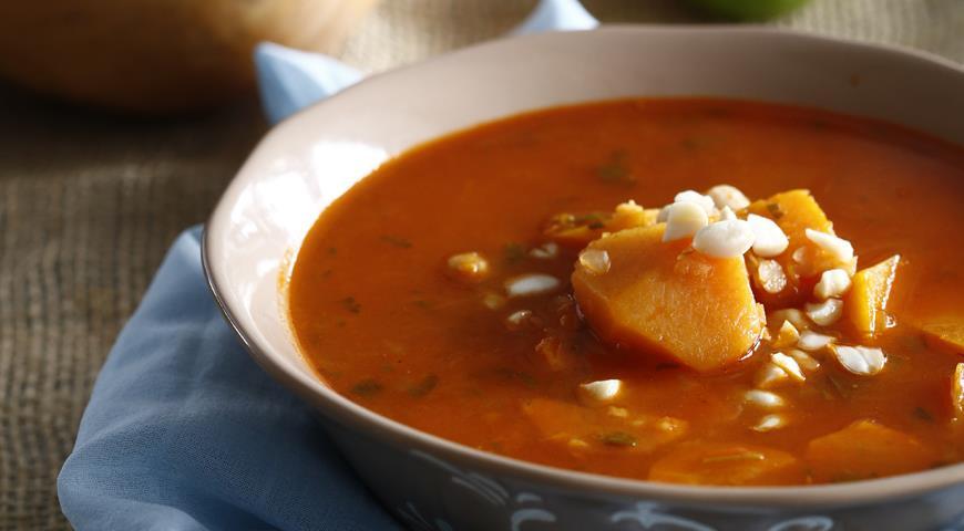 Рецепт Суп из чечевицы с нутом и тыквой