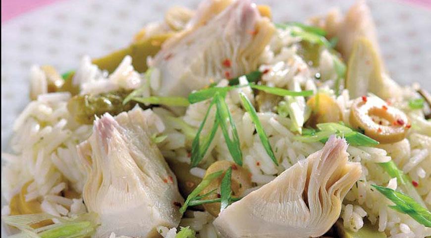 Рецепт Зеленый салат с артишоками и рисом