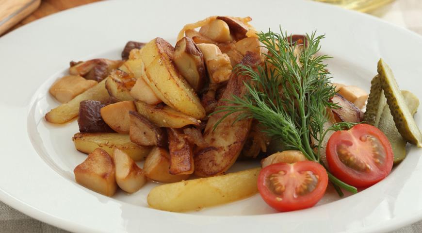 Рецепт Грибы, жаренные с картофелем и луком