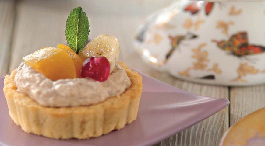 Рецепт Корзиночки с персиками и бананами