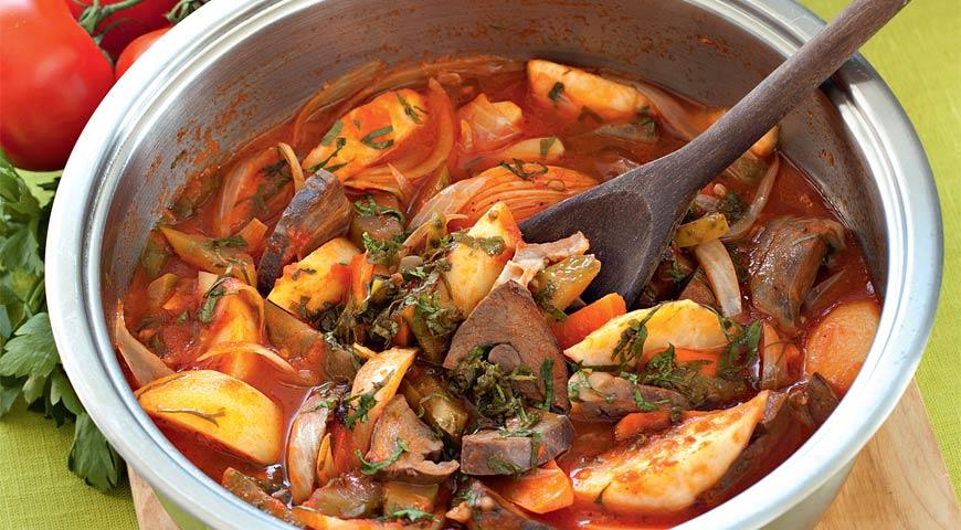 Рецепт Говяжье сердце с овощами