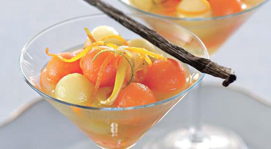 Рецепт Дыня в ванильно-цитрусовом сиропе