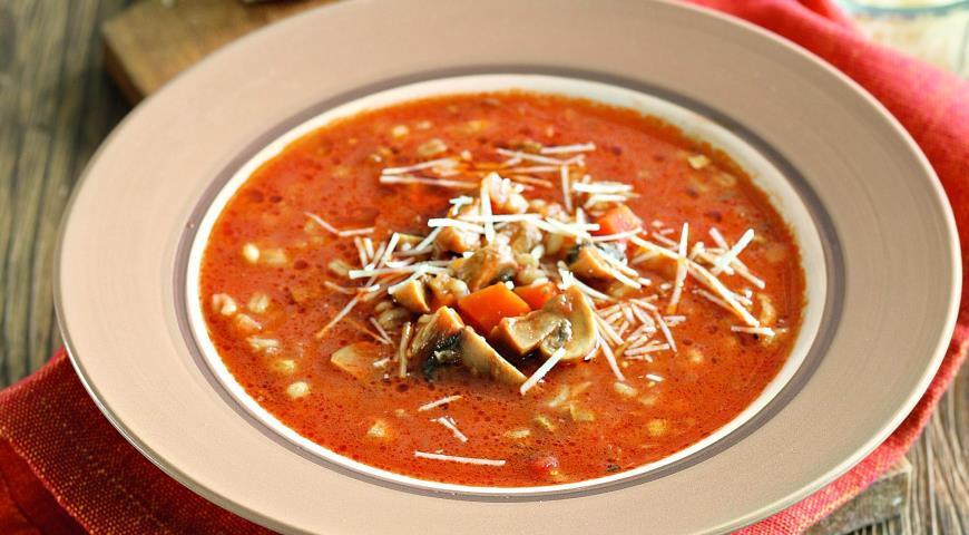 Суп сгрибами иперловой крупой