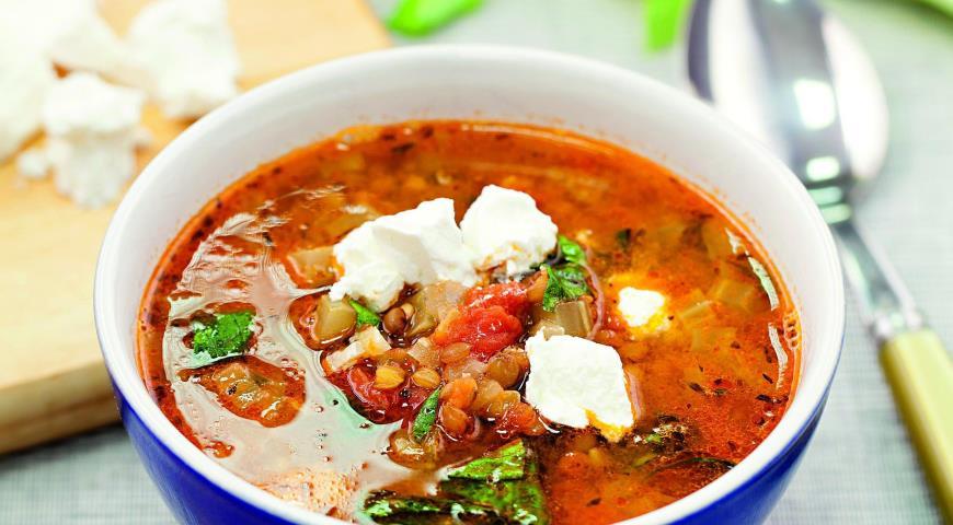 Рецепт Греческий суп из чечевицы