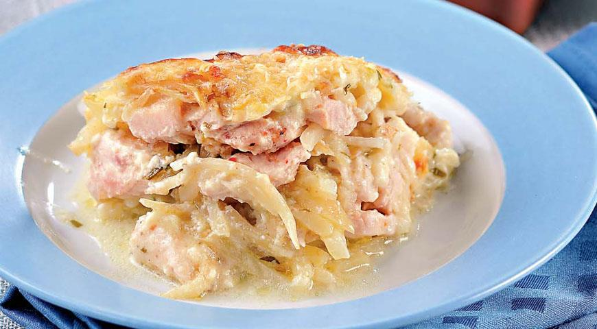 Рецепт Слоеная запеканка из корневого сельдерея с курицей