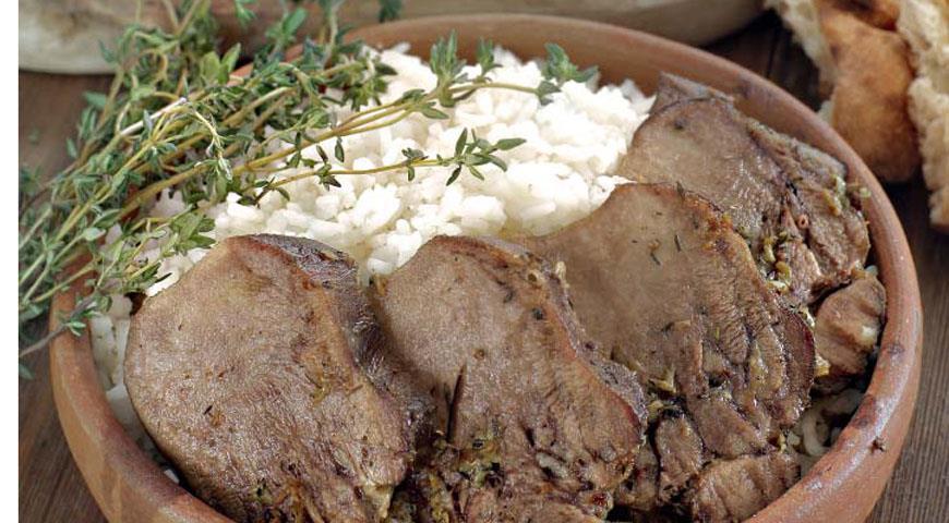 Рецепт Язык, жаренный с тимьяном и чесноком