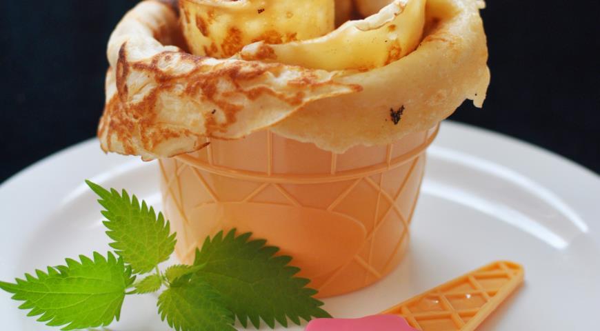 Рецепт Блинчики на кефире, молоке и сгущенке