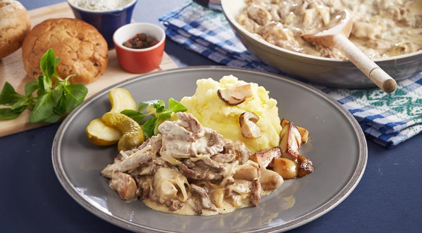 Рецепт Бефстроганов с белыми грибами