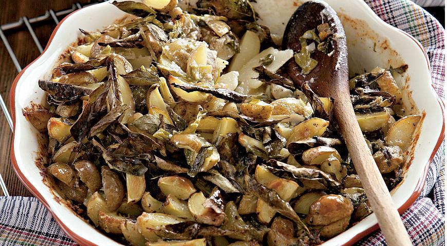 Рецепт Картофель, запеченный в кокосовом молоке с листьями карри