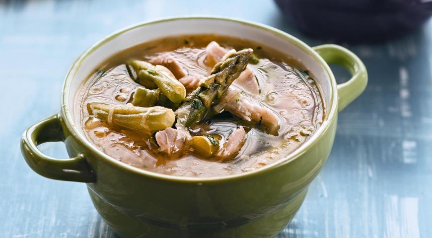 Рецепт Суп из курицы с зеленой фасолью и спаржей