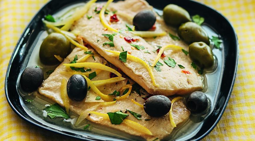 Рецепт Рыба с оливками и маслинами