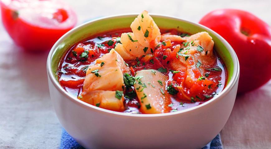Рецепт Томатная похлебка с рыбой и картофелем