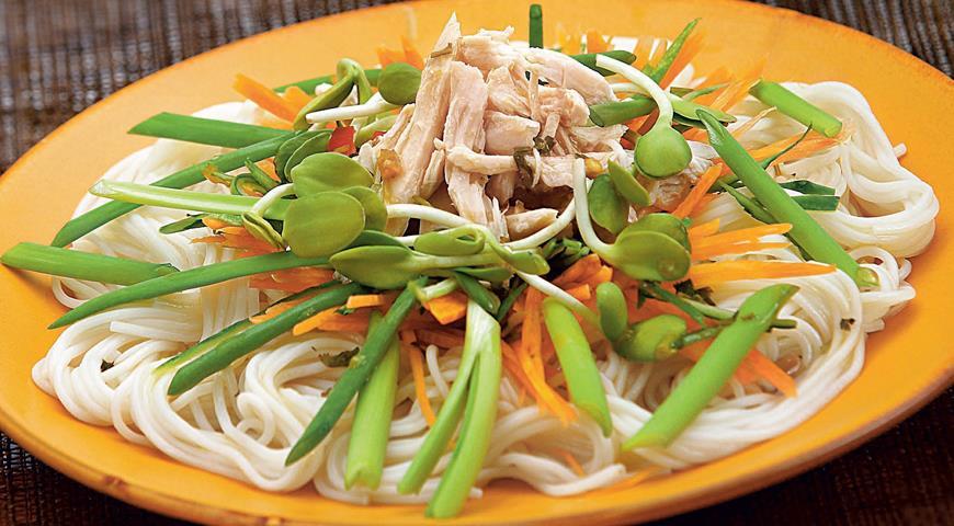 Рецепт Сычуаньский куриный салат с яичной лапшой