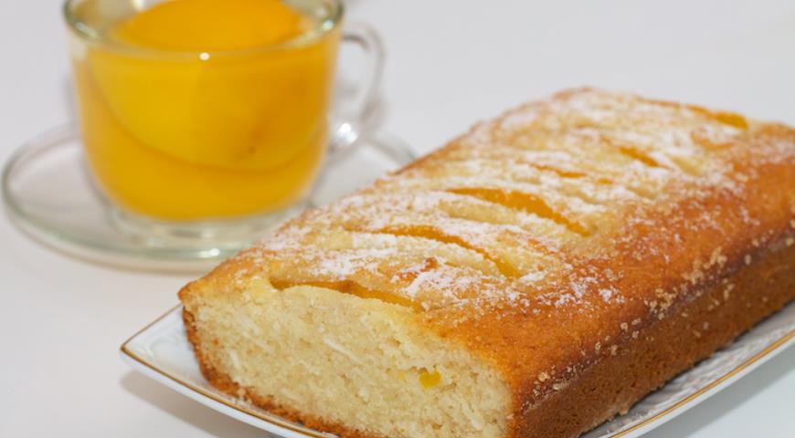 Рецепт Постный кекс-манник с кокосом и персиками