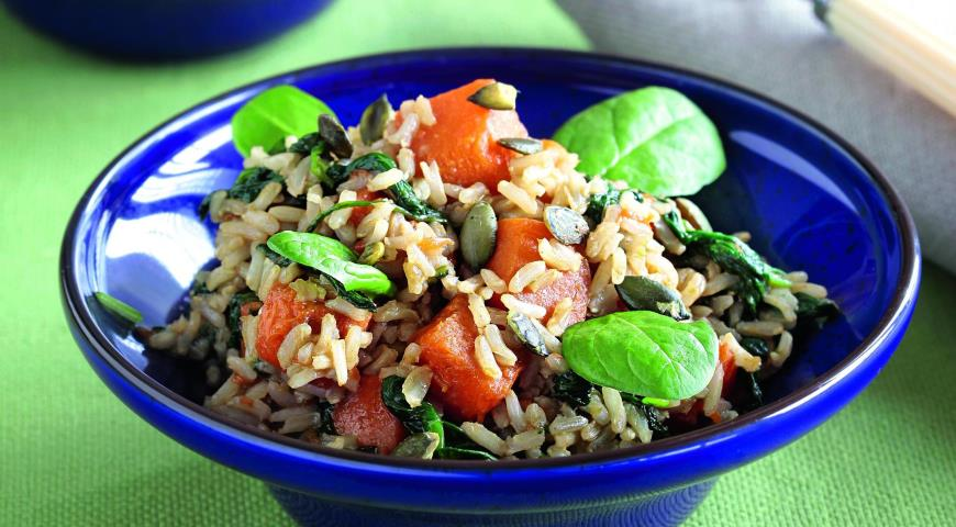 Рецепт Рис с карамелизованной тыквой и шпинатом