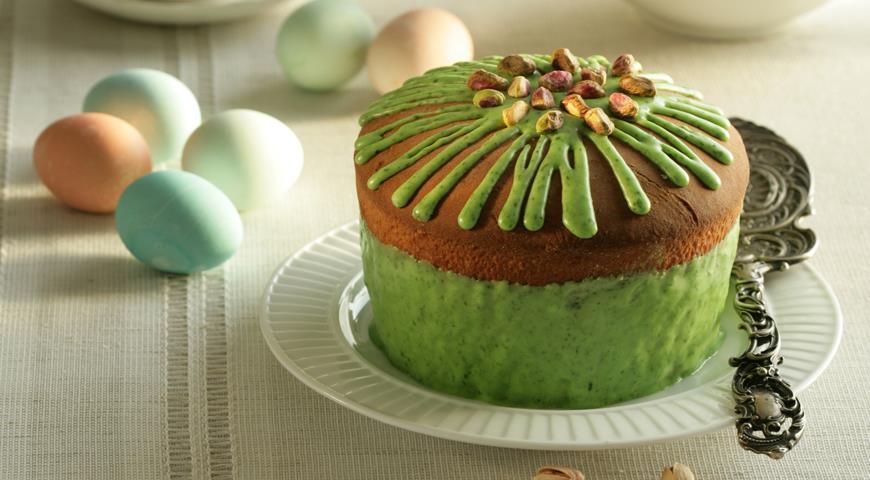 Кулич с фисташками в зеленой глазури, пошаговый рецепт с фото