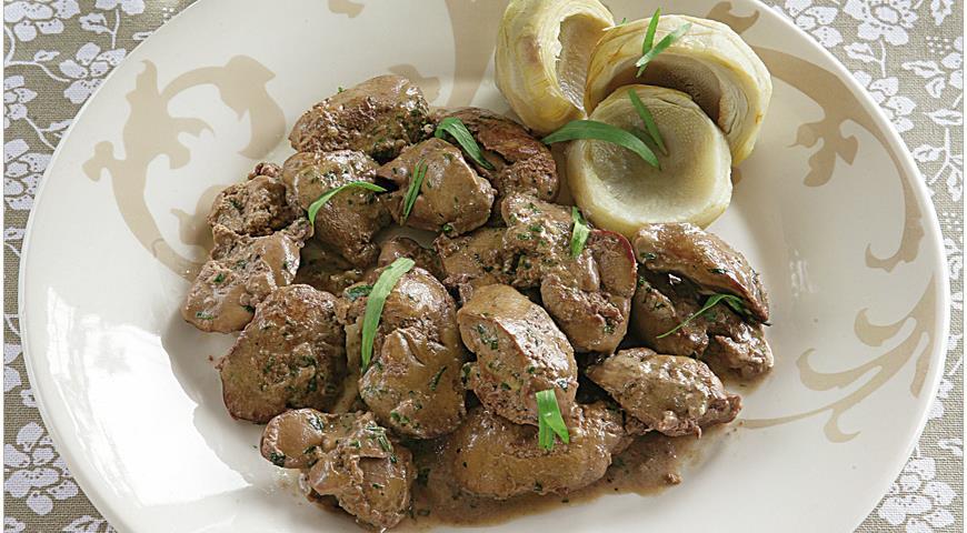 Рецепт Фрикасе из куриной печенки с эстрагоном