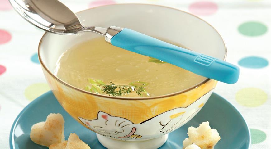 Рецепт Куриный бульон с крутонами из поленты