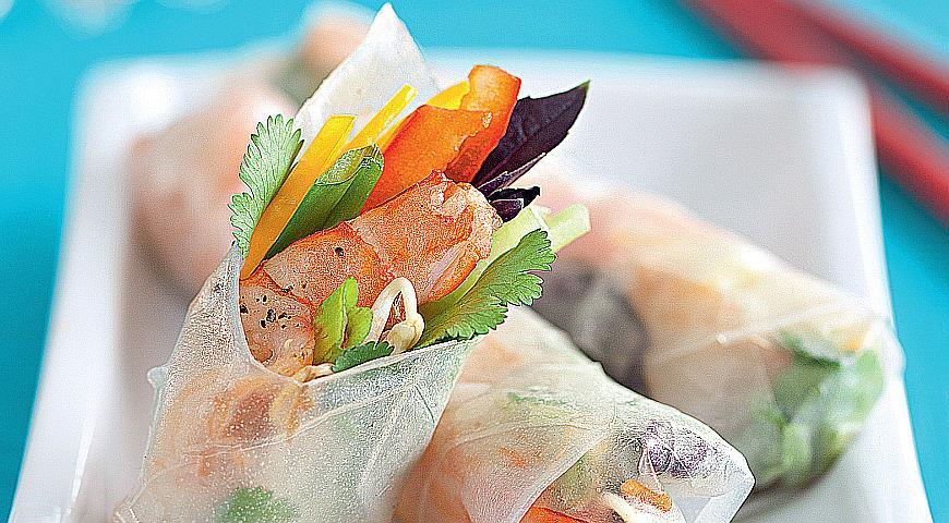 Рецепт Вьетнамские роллы с креветками