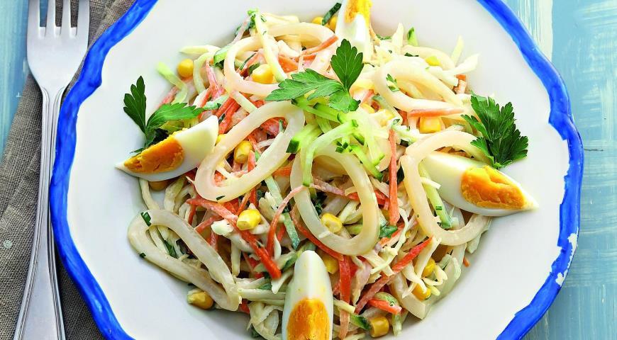 Салат из кальмаров пошаговый рецепт 87