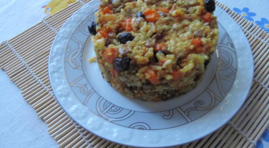 Рецепт Запеканка из риса с чечевицей