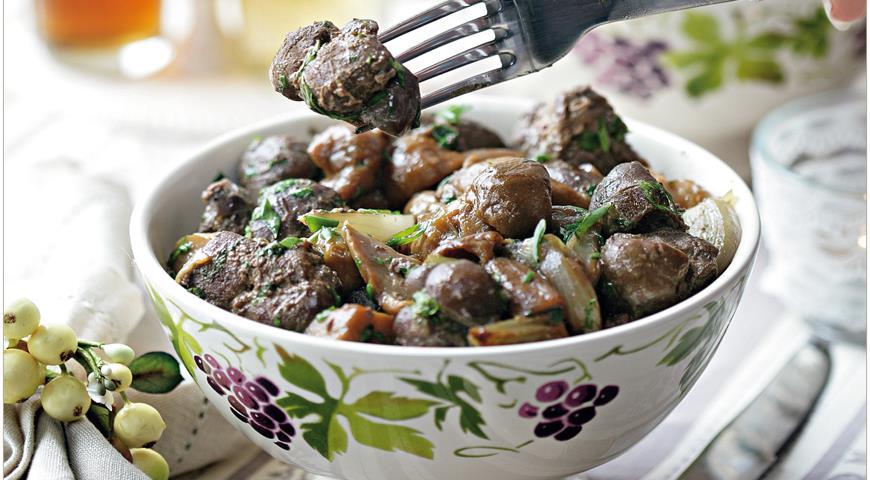 Рецепт Почки и зобная железа теленка с белыми грибами