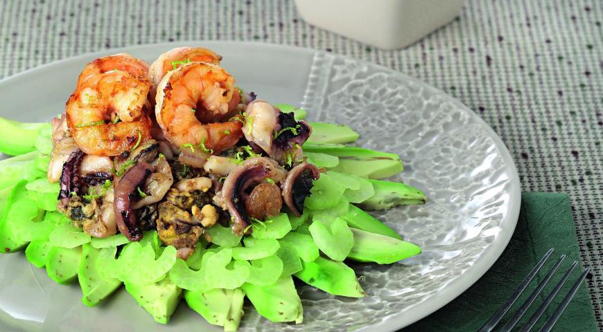 Рецепт Салат из морепродуктов с карри