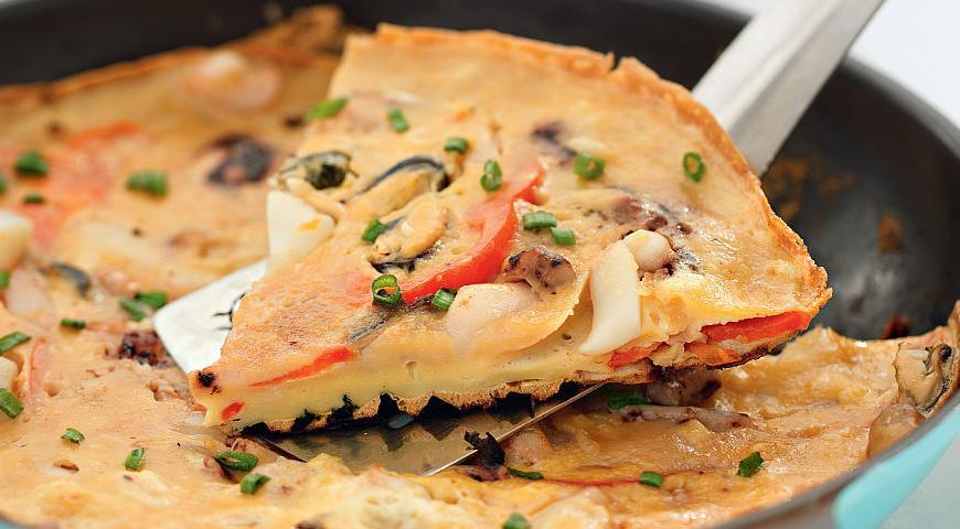 Рецепт Корейская «пицца» с морепродуктами