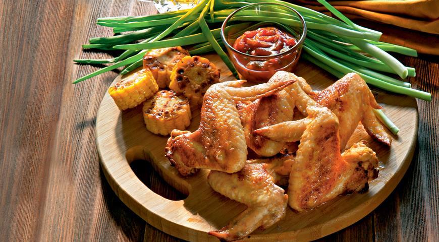 Рецепт Крылышки, маринованные в остром маринаде и обжаренные на гриле