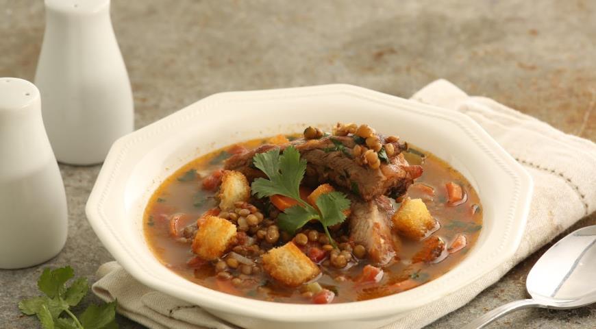 Рецепт Чечевичный суп с копчеными ребрами