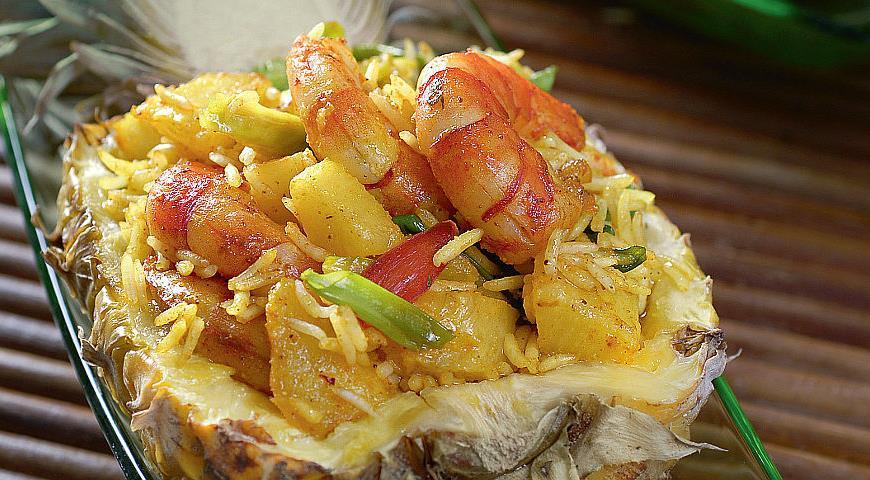 Рецепт Фаршированный креветками ананас