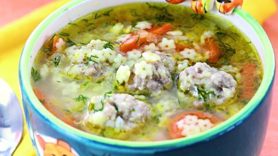 Суп сфрикадельками ивермишелью