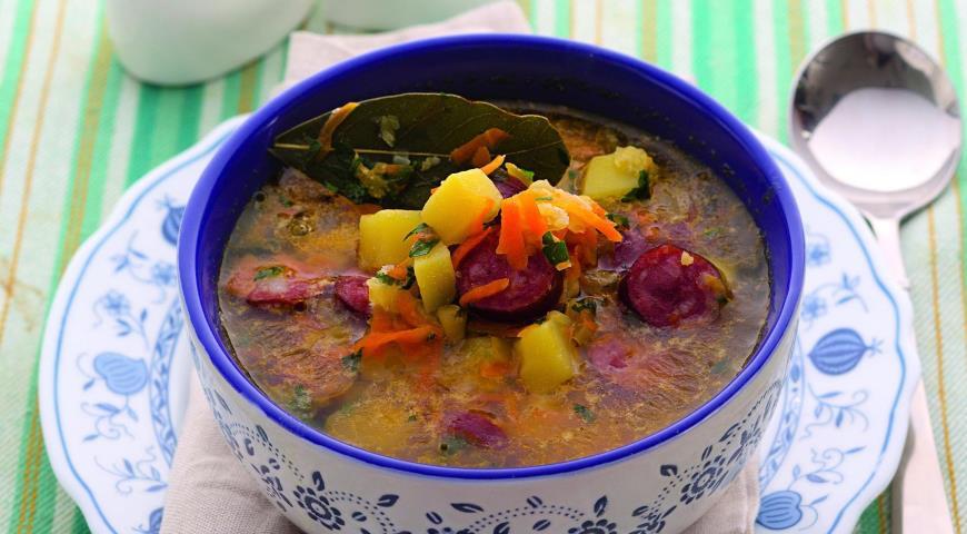 Рецепт Гороховый суп с копчеными колбасками