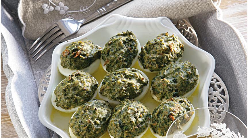Рецепт Яйца, фаршированные шпинатом