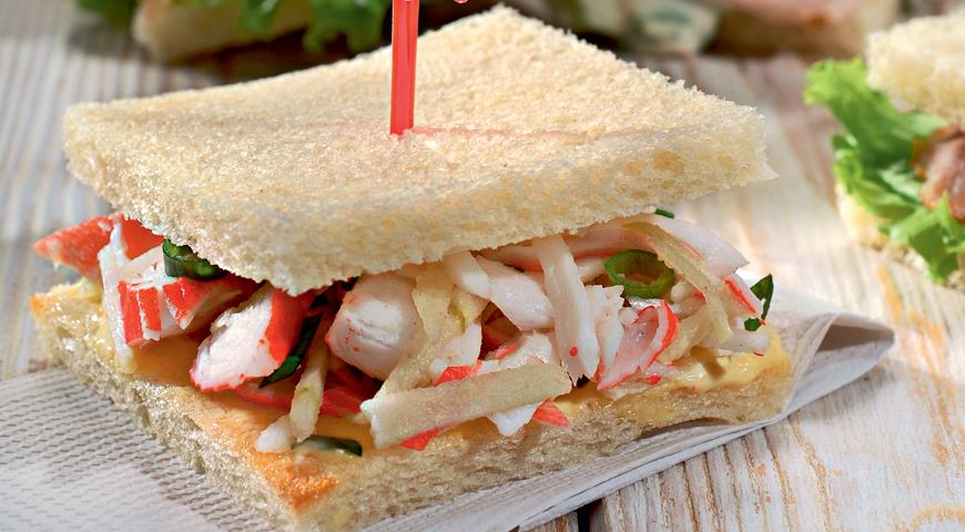 Рецепт Классический сэндвич с крабовыми палочками