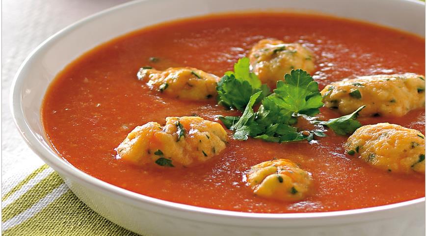 Рецепт Овощной крем-суп с клецками из петрушки