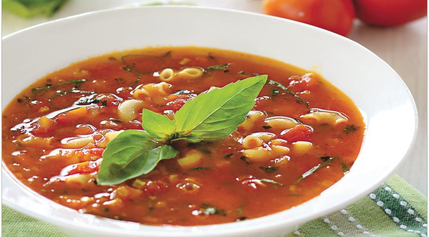 Рецепт Томатный суп с пастой и базиликом