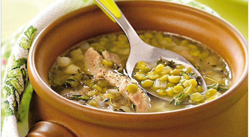 Рецепт Гороховый суп со свиной рулькой