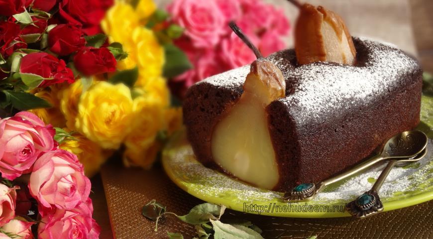 Рецепт Постный шоколадный кекс с грушами