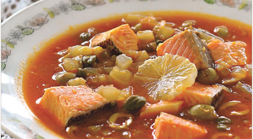 Рецепт Рыбная солянка из лососевых трех видов