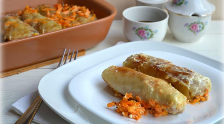Рецепт Постные голубцы с рисом, грибами и оливками