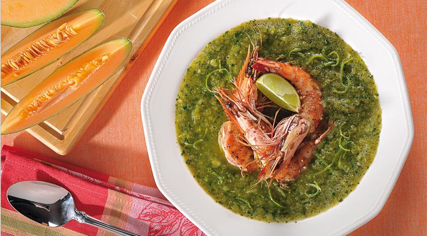 Рецепт Дынный суп с креветками и кориандром