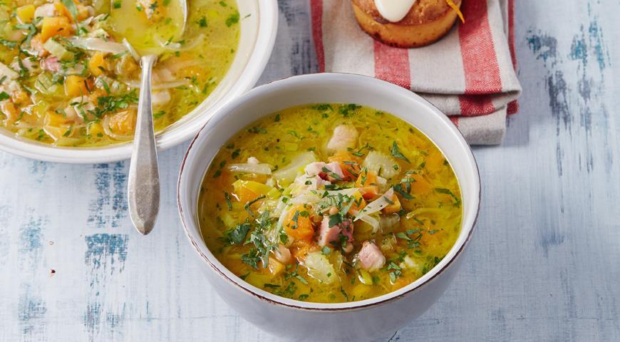Рецепт Овощной суп с фасолью и грудинкой