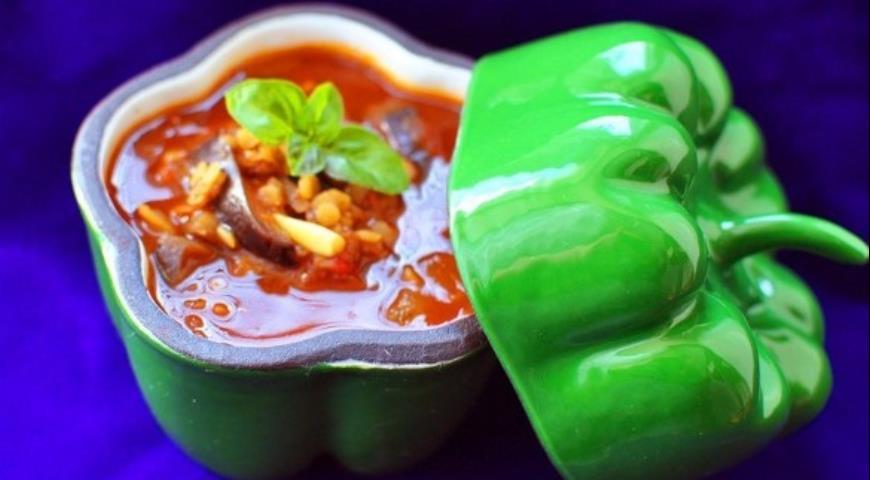 Рецепт Чечевичный суп с баклажанами и томатами