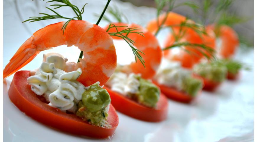 Рецепт Закуска с креветками и мягким сыром