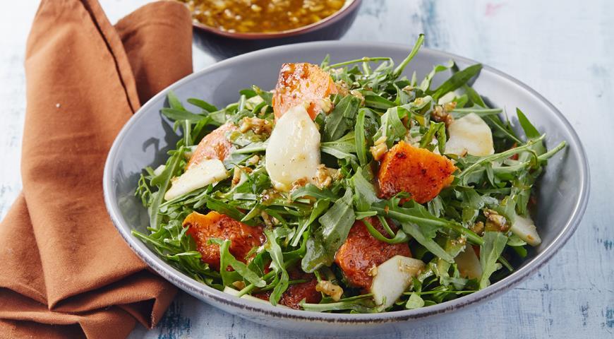 Рецепт Теплый салат с тыквой и грушами