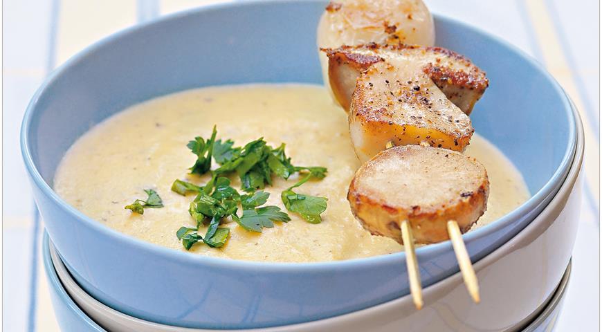 Рецепт Суп-крем из топинамбура с шашлычками из белых грибов
